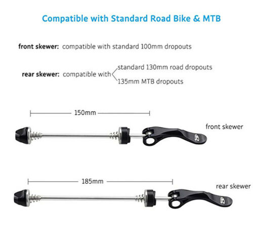 1Pair Stainless Steel Bicycle Wheel Skewer Road Bike MTB Quick Release Axle Bolt