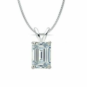 1-0-ct-Emerald-Cut-Solitaire-14k-White-Gold-Over-Diamond-Pendant-With-18-034-Chain