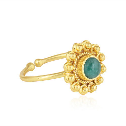 Natural Emerald 18K Gold Plated 925 Sterling Silver Ring Designer Jewelry