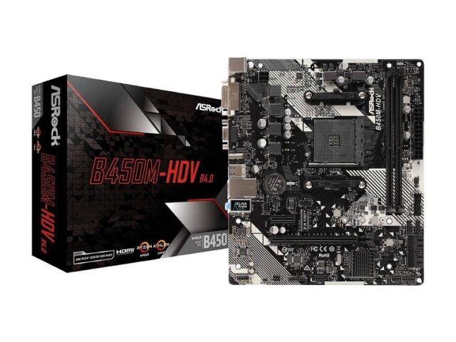 ASRock B450M-HDV R4.0 AM4 AMD Promontory B450 Micro ATX AMD Motherboard