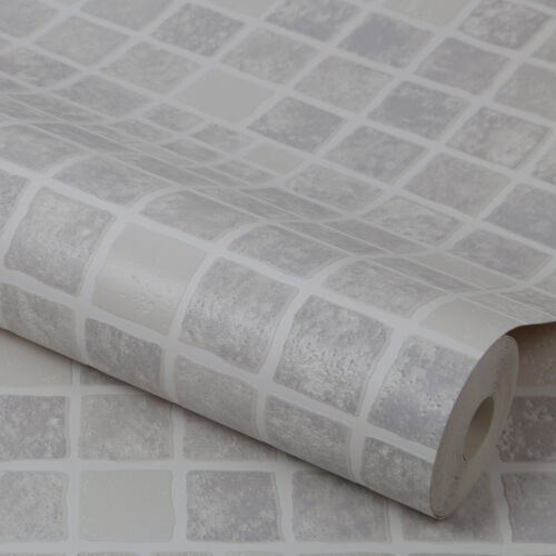 Contour Earthen Tile Effect Kitchen Bathroom Grey Wallpaper