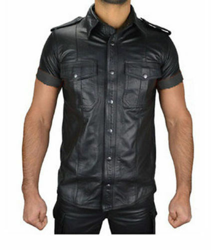 Attractive Men's Boy's Hot Police Uniform Shirt Genuine Soft Lambskin Leather Sh