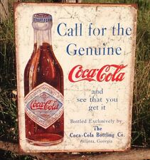 COKE Coca Cola Sign Tin Vintage Garage Bar Decor Old Call for Genuine Bottling