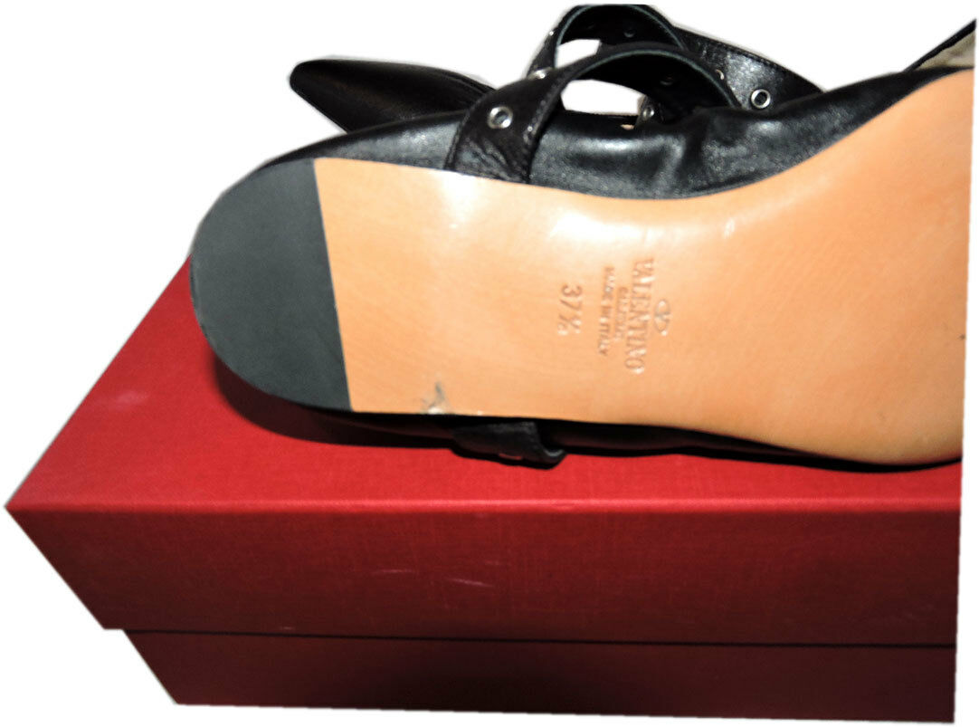 Valentino Plats Oeillets Bout Pointu Chaussure Chaussure Chaussure Amour Loquet Ballet 37.5 a2490a