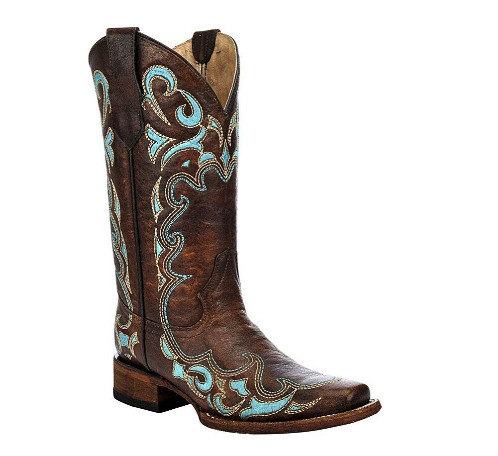 Circle G By Corral Ladies Embroidered Western Boots Brown Turquoise L5239