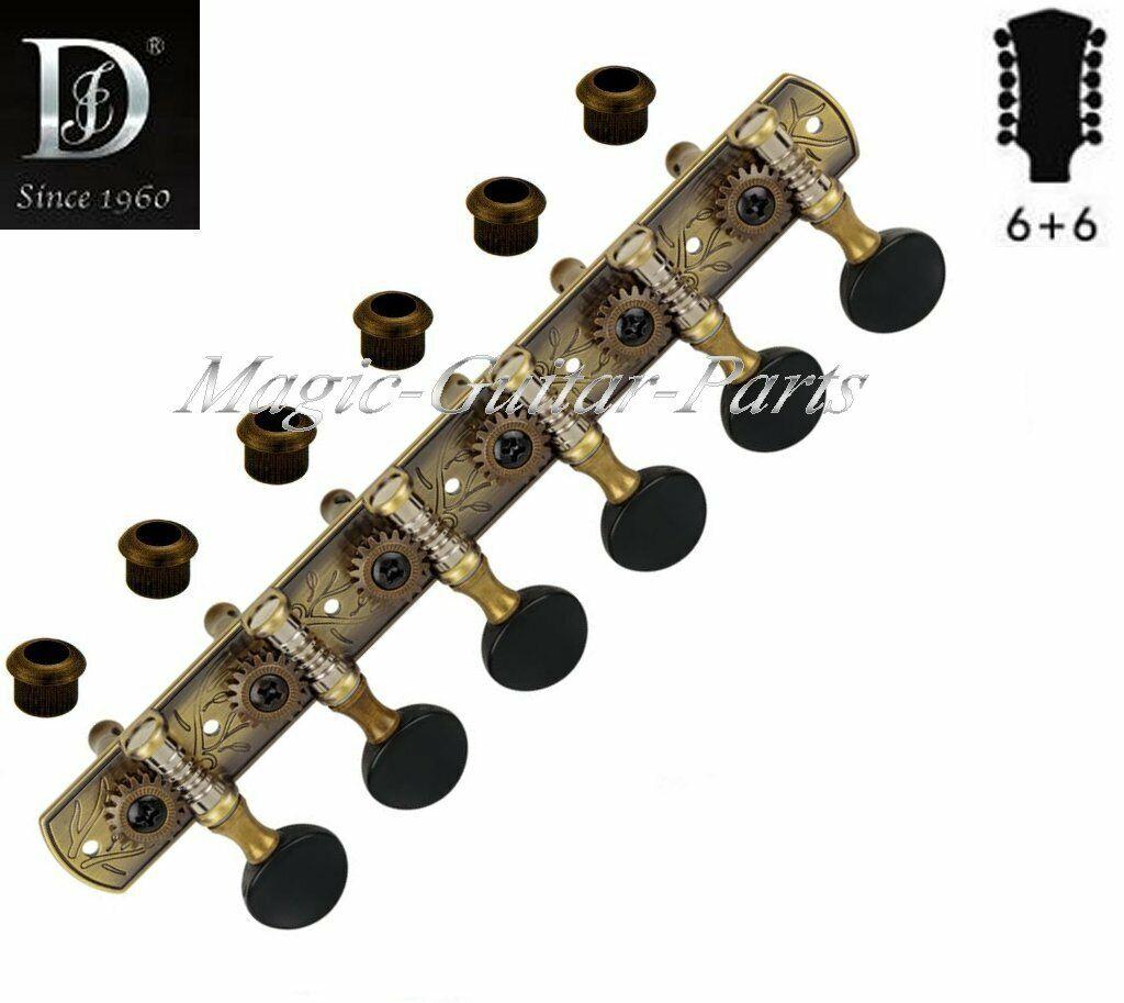 DJ141AB-SB, Mechaniken f. Western-Gitarre, 12-saitig, Messing antik, Ü=1 18