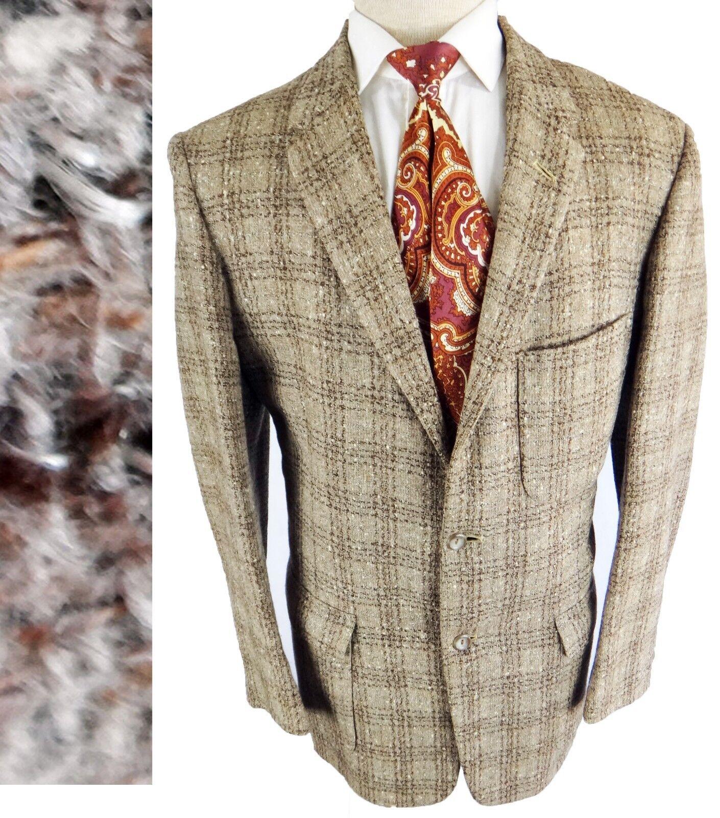 VINTAGE 2 button Chunky weave woven 1940 1950 plaid Braun glen raw mohair union