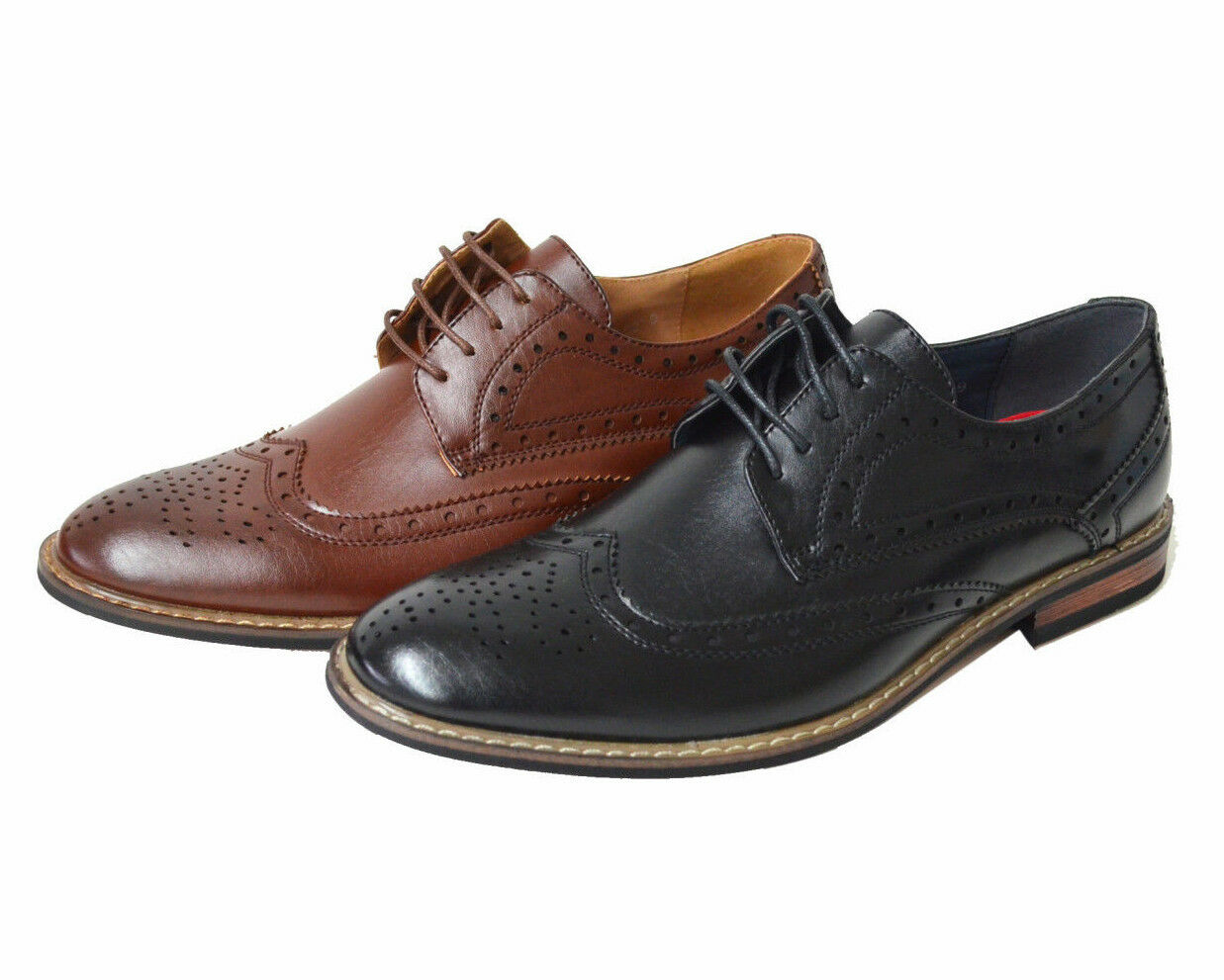 87ca4d4d08e Detalles acerca de Para Hombre Clásico Moderno Oxford la punta del ala  lazada Zapatos De Vestir (jf-conrad-02)- mostrar título original