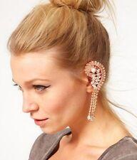 Occident Fashion Punk Full Rhinestone Tassel Dangle Ear Cuff Clip Earring 1PC