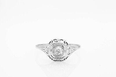Antique 1920s .20ct VS H Old Euro Diamond 18k White Gold Filigree Ring