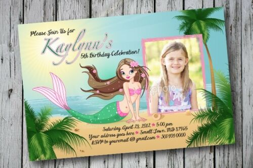 MERMAID OCEAN Printable Birthday Party Invitation File 1st 13th Princess Any Age