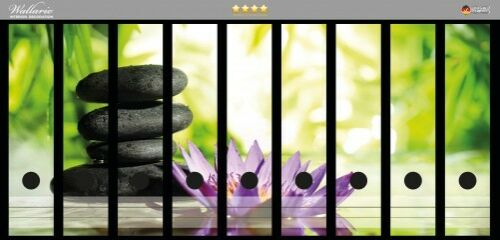 Steinstapel Blüte lila Wallario Ordnerrücken selbstklebend für 9 breite Ordner