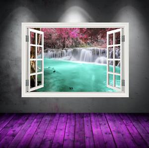 Volle Farbe Blaue Lagune Fenster Wandkunst Aufkleber Transfer Grafik