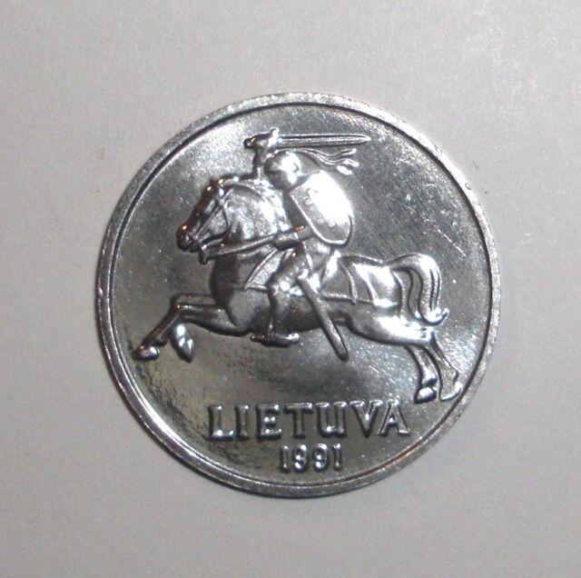 elf Lithuania 5 Centai 1991  Knight  Horse