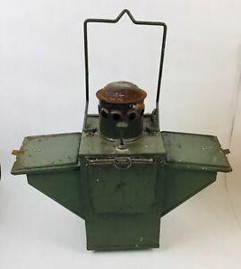 Military vintage signing petrol kerosine signing lantern lamp colored glass 50's