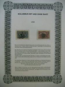 Errori su francobolli/USA 1893 Mer 73 + 74: Colombo con e senza barba