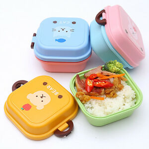 kids cute microwave bento lunch box utensils picnic food container storage bo. Black Bedroom Furniture Sets. Home Design Ideas