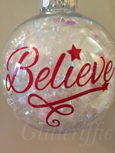 X BELIEVE Vinyl Decal Sticker DIY Christmas Bauble Or Glitter - Vinyl decals for drinking glasses