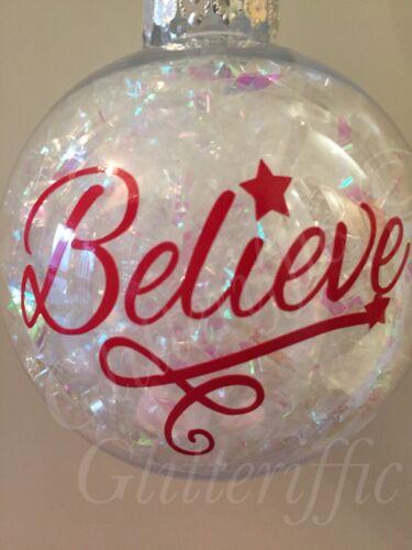 x10 BELIEVE Vinyl Decal Sticker DIY Christmas Bauble Or Glitter Wine Glass