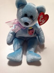 EGGS II Blue Bear With Easter Egg Easter Ty Beanie Baby MWMT