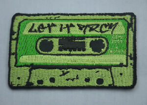 Black Grey Retro Cassette Tape Embroidered Iron Sew On Patch T Shirt Bag Badge