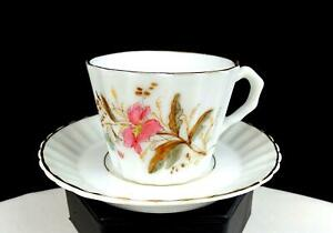 "ENGLISH PORCELAIN BLUE PINK FLORAL GOLD TRIM RIBBED 2"" DEMITASSE CUP AND SAUCER"