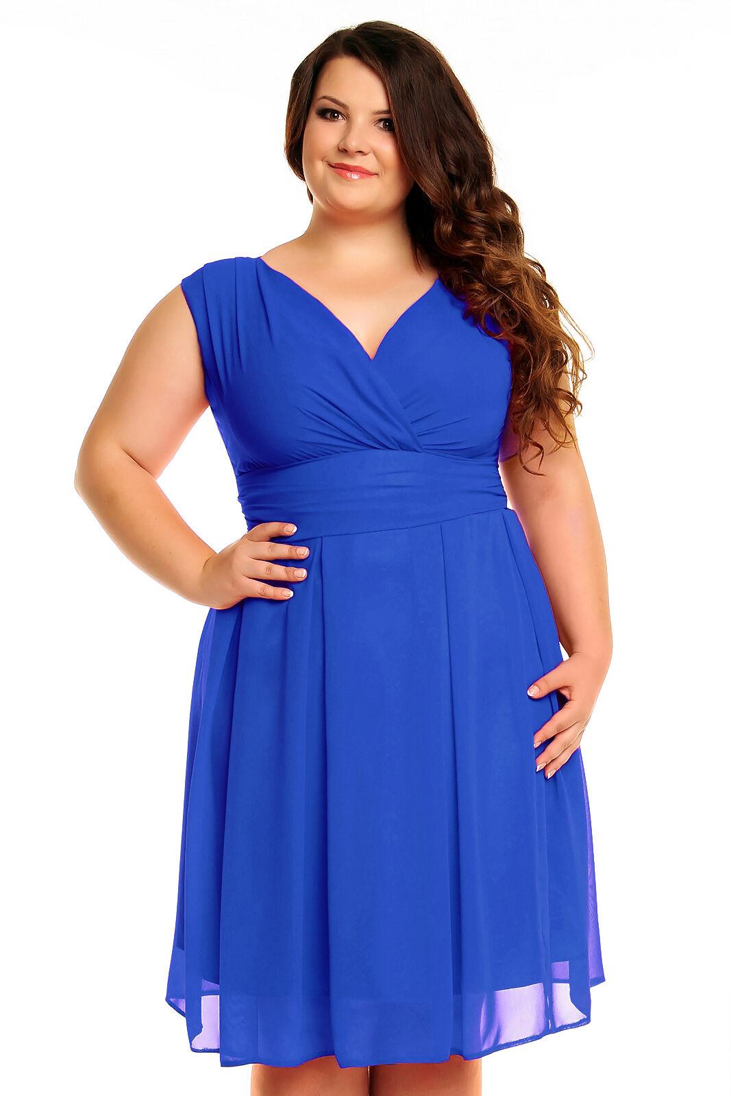 VictoriaV Chiffonkleid Cocktaikleid Abendkleid PlusGröße Übergröße Blau 44-50 NEU