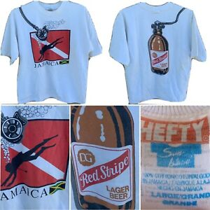 Vintage Red Stripe Lager Beer Diving Tank Jamaica T Shirt Front Back Graphics L Ebay