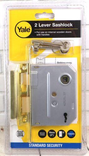 Yale Locks 2 Lever Mortice Sashlock Internal Wooden Doors 64mm 76mm Brass Finish