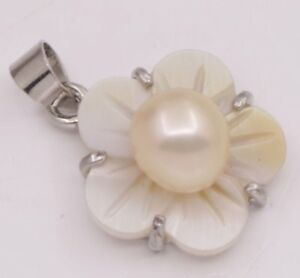 Natural-Pink-Pearl-Gem-Stone-15mm-White-Mother-of-Pearl-Shell-Pendant-Jewelry