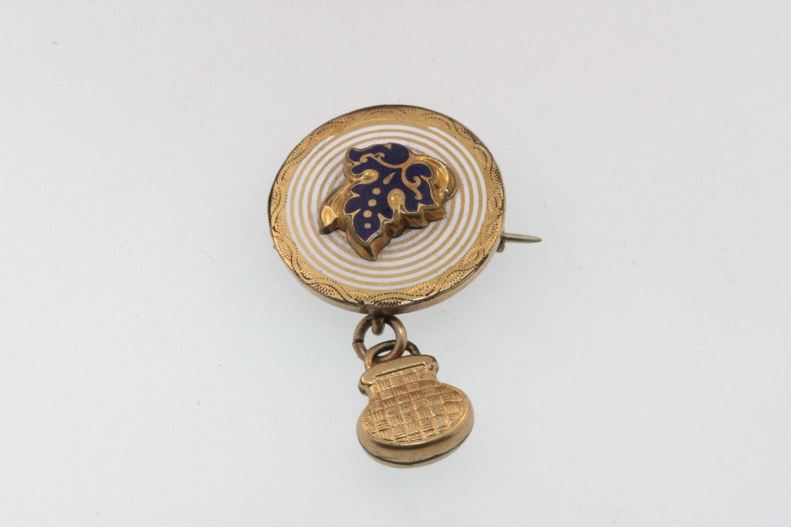 ELEGANT VICTORIAN Y gold GILT ENAMEL CIRCLE PIN HANGING PURSE CHARM ENAMEL LEAF