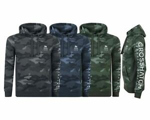 New-Mens-Crosshatch-Army-Pullover-Hoodie-All-Over-Army-Jacket-Sweatshirt-S-XXL
