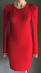 MODA-INTERNATIONAL-Red-Knit-Fitted-Dress-w-Crystal-Embellished-Sleeves-Size-S-8