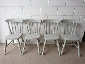 Set-of-4-Painted-Spindle-Back-Solid-Pine-Kitchen-Dining-Chairs-in-Paris-Grey