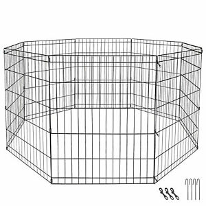 """24"""" Dog Playpen Crate 8 Panel Fence Pet Play Pen Exercise Puppy Kennel Cage Yard"""