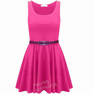 Womens Belted Sleeveless Flared Franki Short Party Ladies Skater Dress Top