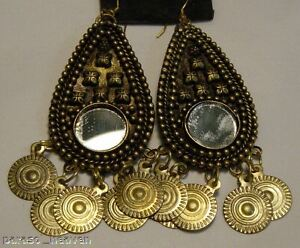 GOLD-TONE-MIRROR-amp-COIN-MEDALLION-EARRINGS-BELLY-DANCE-NDIA-TRIBAL-Earing