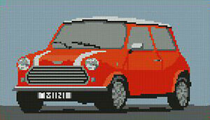 Classic Mini Cooper Orange Cross Stitch Kit 10 &#034;x 5.7&#034; 							 							</span>