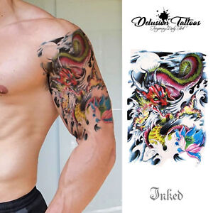 Wrath Of The Dragon Lotus Flower Temporary Tattoo Mens Womens