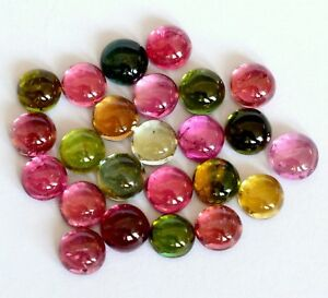 100-Natural-6-mm-Multi-Color-Tourmaline-Round-Cabochon-Loose-Gemstone