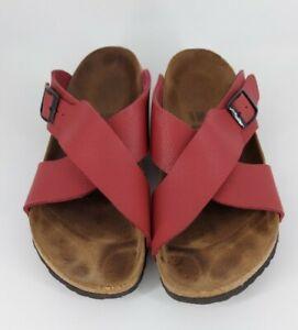 Birkenstock Birkis Red Santosa Cross Strap Slide Sandal Womens Size 9 Men Size 7