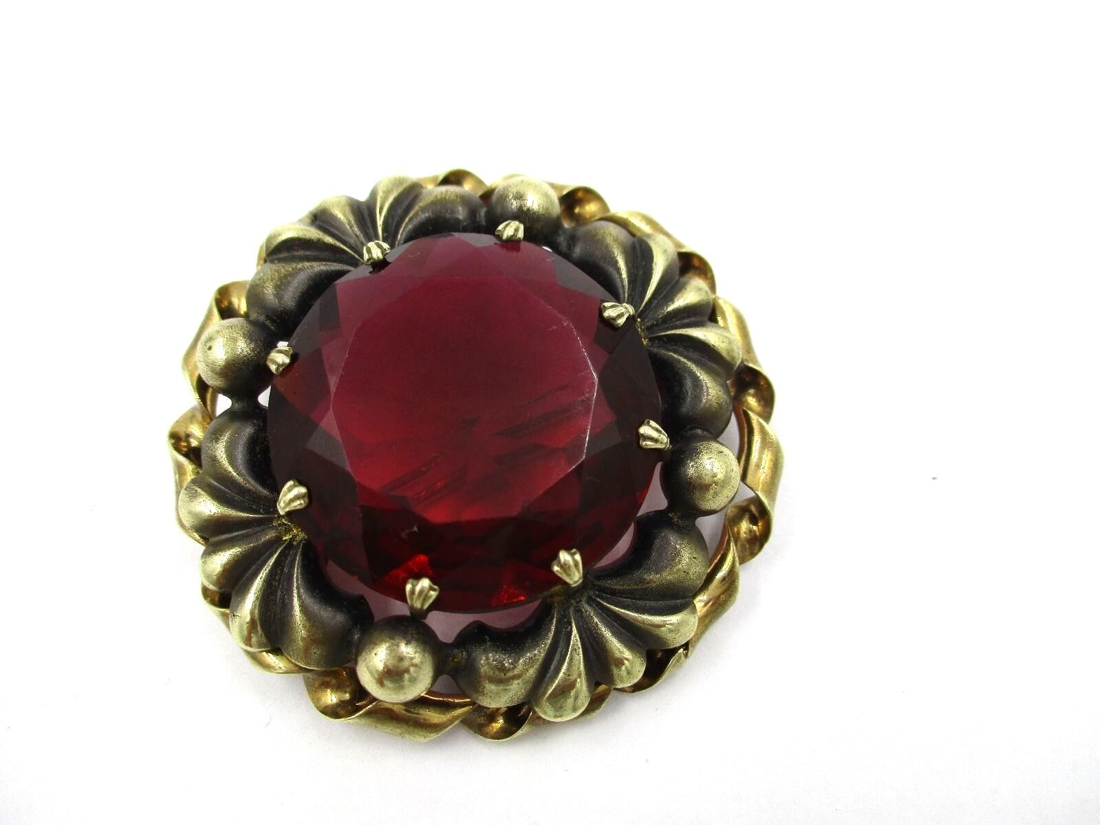 8fd5b3242 Slovaquie CZECH gold Red Large Brooch Pin Filled Tcheco nbecbz3545-Cameos