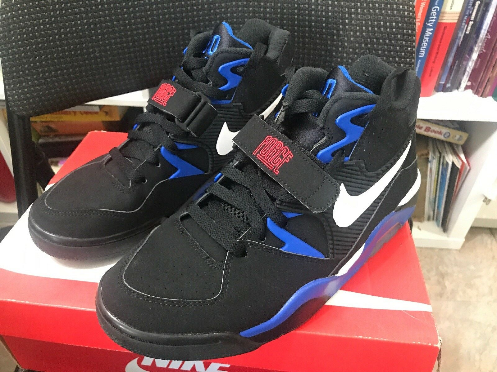 New Nike Air Force 180, Black White Red bluee Barkley OG shoes 310095 011 Size 8