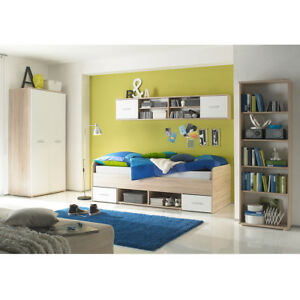 jugendzimmer nanu in wei und eiche sonoma 4 teilig bett kleiderschrank regale ebay. Black Bedroom Furniture Sets. Home Design Ideas