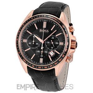 New Mens Hugo Boss Driver Chronograph Rose Gold Watch 1513092