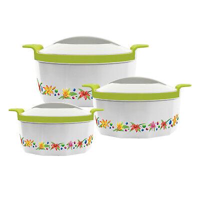 3pc Hot Pot Casseruola Set Isolato In Acciaio Che Servono Dish Scaldavivande Verde Fn- Una Custodia Di Plastica è Compartimentata Per Lo Stoccaggio Sicuro