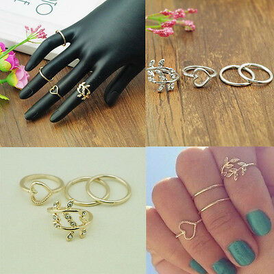4PCS/Set Cute Urban Crystal Plain Above Knuckle Ring Band Midi Ring Gold/Silver