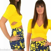 NEW WOMENS YELLOW SHORT SLEEVE CROSSOVER WRAP CUT OUT CROP TOP