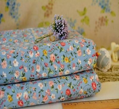 Lovely Tiny Country Flowers Buds Cotton Fabric Greyish Blue Clothing Remnant