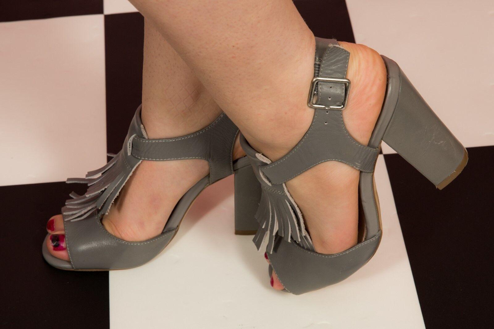 Grey tasseled fringed t-bar peeptoe heels NEXT size 6